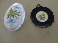 French Porcelain Henriot Quimper Plaque & Quimper Trinket Box (2 items)