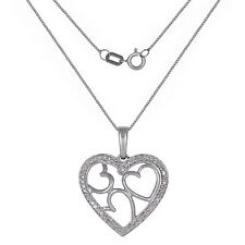 14k White Gold 0.20ctw Diamond Love Hearts in a Heart Pendant Necklace