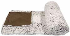 WOLF FAUX FUR WHITE BROWN SUPERSOFT FLEECE THROW BLANKET 150X200CM
