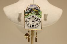 VINTAGE RARE MINI WALL MECHANICAL CLOCK WITH PAINT PORCELAIN DIAL/MINT