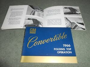 1966 CHEVY PONTIAC OLDSMOBILE BUICK CADILLAC CONVERTIBLE FOLDING TOP MANUAL, GM