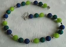 Perlen Kette Halskette Collier Polarisperlen hellgrün grün dunkelblau Silber NEU