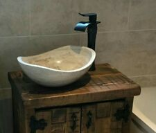 Bathroom Vessel Stone Sink Above Counter Beige Brown Canoe Oval Round vanity