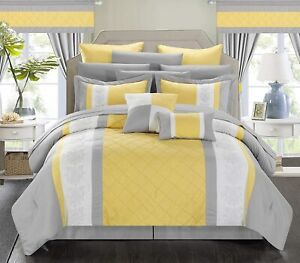 Yellow Gray White Pintuck Striped Block 24pc Comforter Window Set Queen King Bed