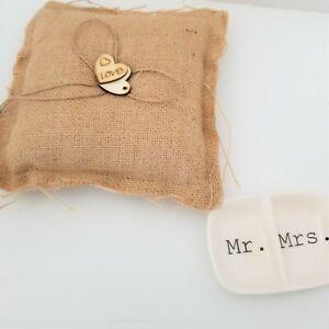 Burlap Wedding Ring Pillow Bridal Ring Bearer Pillow Cushion with Wood D