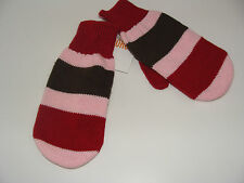 Gymboree Sweet Treats Girls Size 3 4 Stripe Brown Pink Red Mittens New