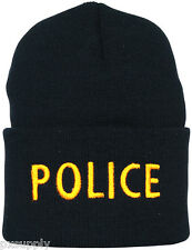 watch cap hat police acrylic black fox outdoor 71-305