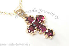 9ct Gold Garnet Cross Pendant and Chain Gift Boxed Necklace