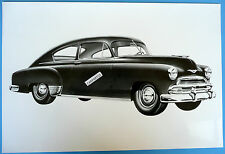 "12 By 18"" Black & White Picture 1951 Chevrolet 2 Door Fastback"