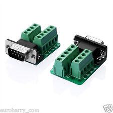 5x rs232 D-sub db9 conector macho adaptador de enchufe señal módulo terminal