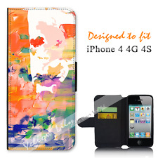 Apple iPhone 4 4G 4S Wallet Flip Phone Case Cover Watercolour Man Y00913