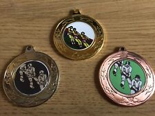 3xTUG OF WAR MEDALS (40mm) GOLD,SILVER & BRONZE-FREE ENGRAVING,CENTRES & RIBBONS