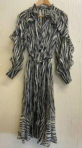River Island Ruffle Shirt Midi Dress - Mono Print BNWT RRP £69 Size 6