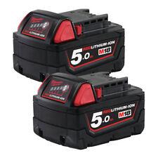 Milwaukee M18B5 M18 Genuine 18V 5.0Ah Red Li-ion Battery 4932430483 TWIN PACK