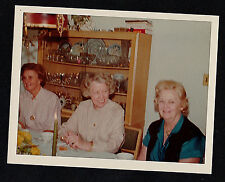 Old Vintage Photograph Three Older Women Sitting By China Cabinet in Retro Room