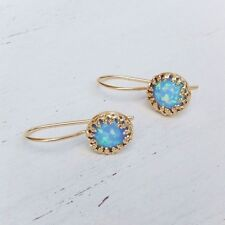 14K Gold Filled Dangle Opal Earrings Blue Opal CLASSIC Earrings WOMEN