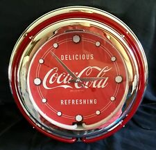 Vintage Style Coca-Cola Neon Lighted Advertising Clock