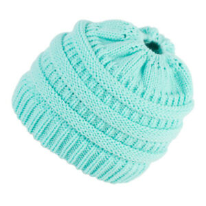 Ladies Ponytail Knitted Empty Top Wool Hat Autumn and Winter Multicolor Pullover