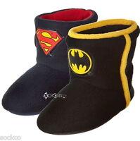 Mens Boys Batman / Superman Logo Slipper Boots Shoe Sizes Kids 10-4 Adults 7-12