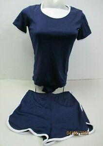 NEW 100% Polyester Womens Crew Neck Body Suit w/ Shorts (Medium) Navy Blue