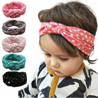 Girls Kids Baby Elastic Cotton Hairband Headband Sweet Turban Knot Head Wrap NEW