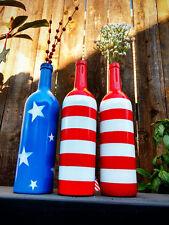 3 July 4th Red,White & Blue AMERICAN FLAG Wine Bottles Decor