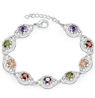 "18K White Gold Plated Rainbow Gemstone Women's Tennis bracelet 7.8"" ITALY"