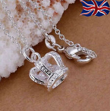 "925 Sterling Silver Crown Necklace Crystal Tiara Princess Pendant 18"" Chain UK"