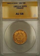 1851-A France 20 Fr Francs Gold Coin ANACS AU-58