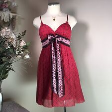 MAX STUDIO M PETITE Women's RED Adjustable SPAGHETTI STRAP Sundress SZ XSP NWOT