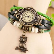 Reloj Pulsera Reino Unido Ladies Aspecto de Cuero Multicapa de Búho encanto vintage verde 8017