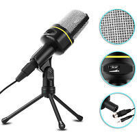 Condenser Microphone Tripod Desktop Audio Recording Computer PC Phone Mic