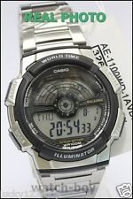 AE-1100WD-1A Black Casio Men's Watches Sport Stopwatch Steel Band Brand-New