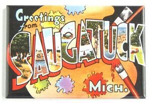 Greetings from Saugatuck Michigan FRIDGE MAGNET travel souvenir