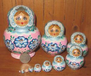 SLIGHT SECONDS Matryoshka Blue Pink Russian nesting dolls 10 SIMAKOVA signed ART