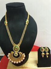 Indian Bollywood Bridal Wedding Fashion Jewelry Pearl Necklace Earrings Set