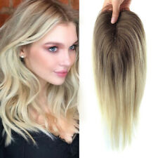 T4/613 Blonde Straight Remy Human Hair Topper Hairpiece Clip Top Toupee Women