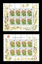Russia 1995 Flowers, 2 MNH Sheets of 8, different margins (Scott #6261a, 6261b)