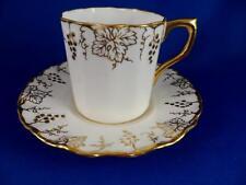 Flat Demitasse Cup & Saucer: Royal Crown Derby VINE Gold A775~Grapes~Bone China