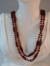 """Vintage Faux Tortoise Root Beer Amber color 00004000  Plastic Bead Long 45"""" Necklace 9g 38"""