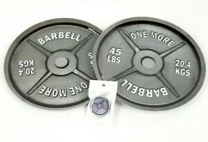 """2 """"One More"""" Barbell Dinner Plates & 1 1MSports Weight Plate Phone Grip/Stand"""