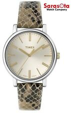 Timex T2N960 Silver Dial Python Snake Skin Pattern Leather Quartz Women's Watch
