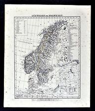 1847 Flemming Map Sweden Norway Denmark Scandinavia Stockholm Oslo Europe