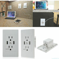 110V Dual USB Port US Wall Socket Charger AC Power Receptacle Outlet Plate Panel