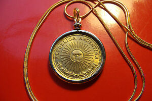 """Antique Excellent Golden Bronze Sun Coin on a 24 """" Gold Filled Snake Chain"""