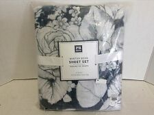 Pottery Barn PB Teen Winter Rose Sheets Set Twin XL Bed Dorm Charcoal Floral