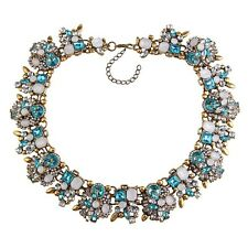 BEAUTIFUL ZARA OPAL WHITE BLUE CLEAR STONES COLLAR STATEMENT NECKLACE – NEW