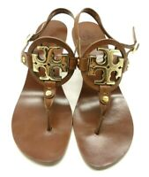 Tory Burch Miller Brown Leather Gold Logo Block Heel Sandals Shoes Women's 7.5 M
