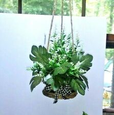 Small Decorated -Hanging Basket With Greenery