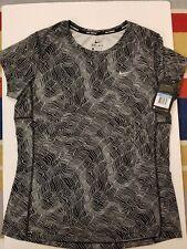 Women's Nike DF Miler SS Print Top Sz XS-L Black/White 904887-010 FREE SHIPPING